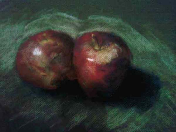 Apples Still Life, Pastels