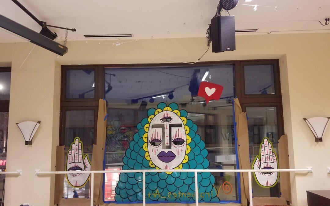 Hairpin Arts Center Window Mural