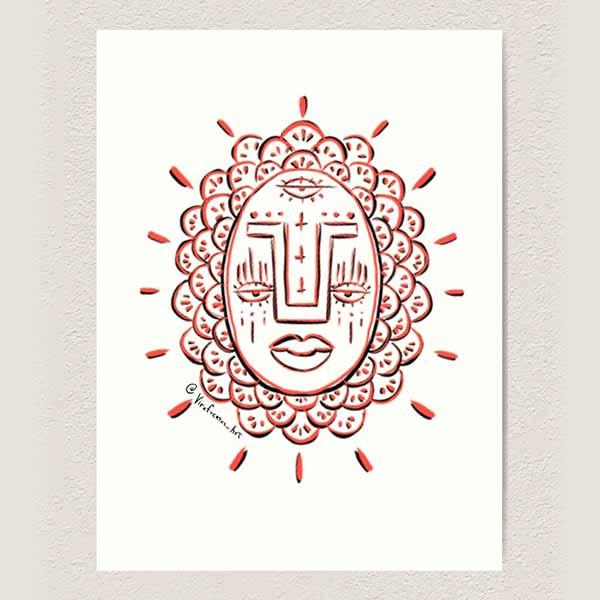 Third Eye Red Face Art Print