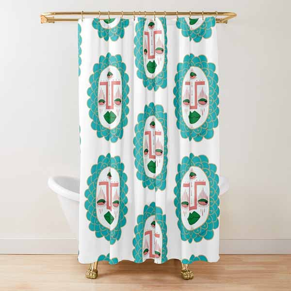 Third Eye with Green Lips Shower Curtain