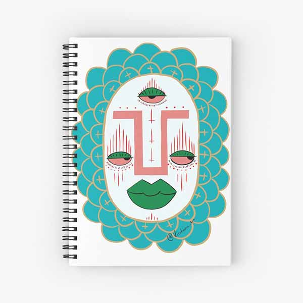 Third Eye with Green Lips Spiral Notebook