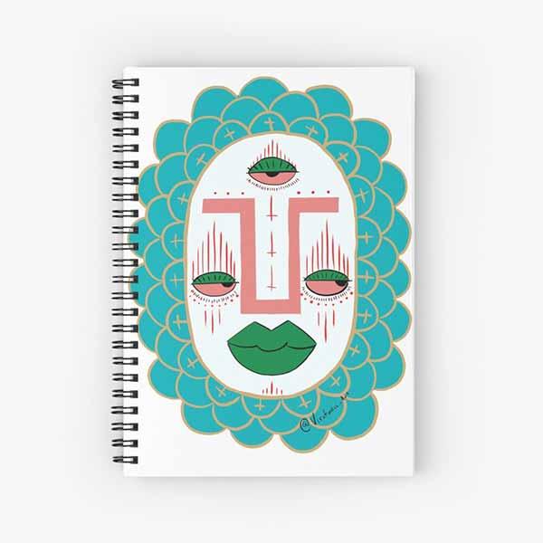 Third Eye with Green Lips Spiral Notebook