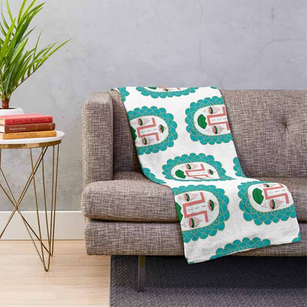 Third Eye with Green Lips Throw Blanket